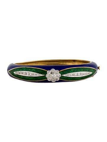 Enamel Diamond Floral Bangle