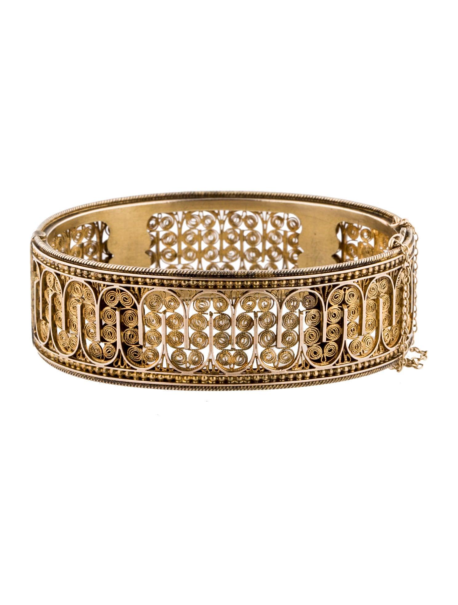 18k hinged filigree bangle bracelets fjb23253 the. Black Bedroom Furniture Sets. Home Design Ideas