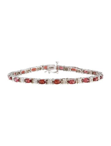 14K Spessartine Garnet and Diamond Link Bracelet None