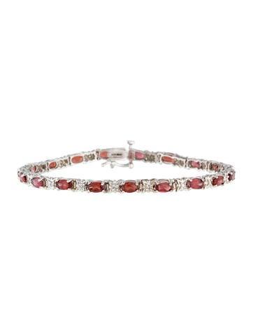 14K Spessartine Garnet and Diamond Link Bracelet None