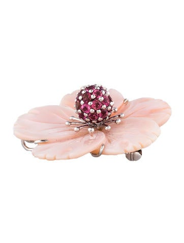 Flower Mother of Pearl & Tourmaline Brooch