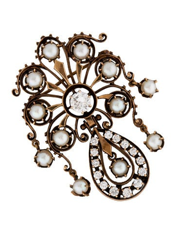 Diamond and Pearl Brooch