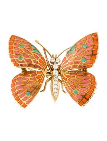 Diamond and Multicolor Enamel Butterfly Brooch
