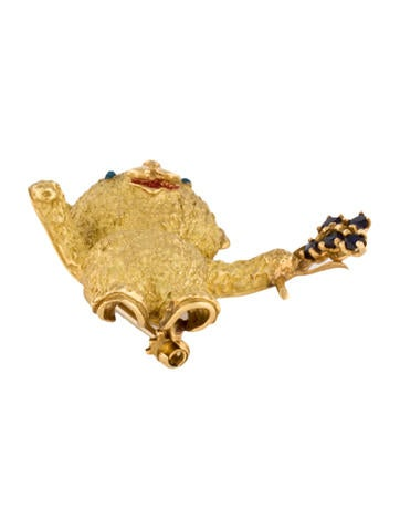 Fine Jewelry Brooch Textured Teddy Bear Brooch with Sapphires
