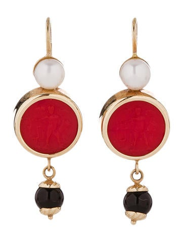 Tagliamonte Carnelian Cameo Earrings