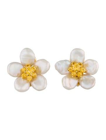 Seaman Schepps Freshwater Pearl and Golden Sapphire Flower Earrings