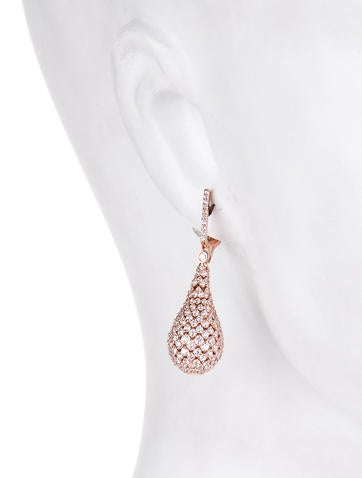 Diamond Pavé Teardrop Earrings 6.42ctw
