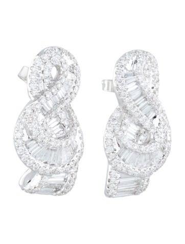 Diamond Cluster Swirl Earrings 1.75ctw