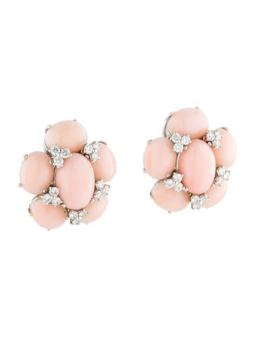 Leo Pizzo Coral and Diamond Earrings 1.28ctw