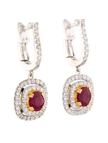 1.30ctw Ruby and Diamond Earrings