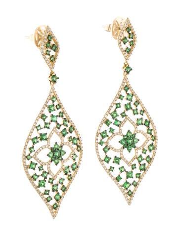 3.41ctw Green Garnet and Diamond Earrings