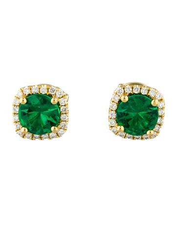Emerald & Diamond Halo Studs