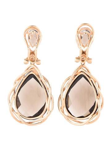 Smoky Topaz and Diamond Drop Earrings