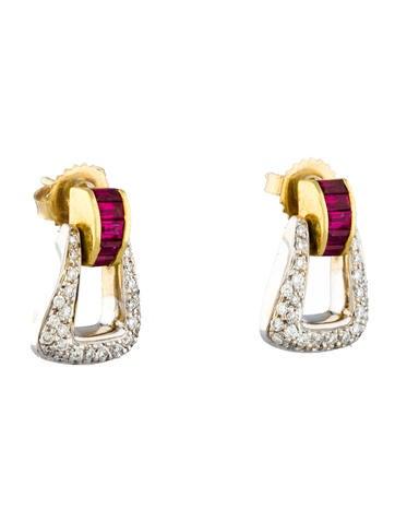 Doorknocker Diamond & Ruby Buckle Earrings