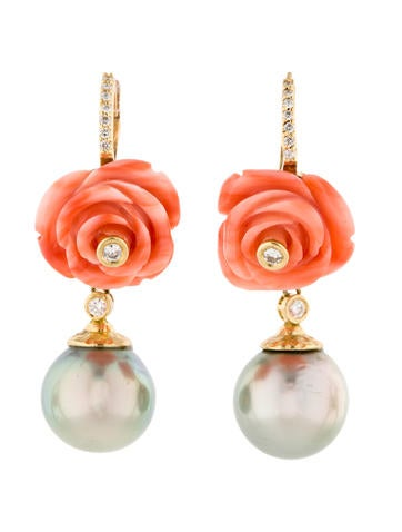 Tahitian Pearl, Coral and Diamond Earrings