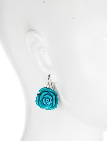 Turquoise Flower and Diamond Earrings
