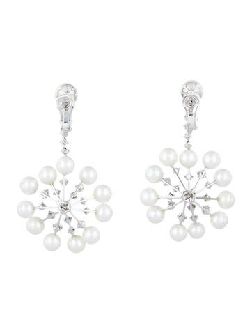5ctw Diamond & Pearl Snowflake Earrings