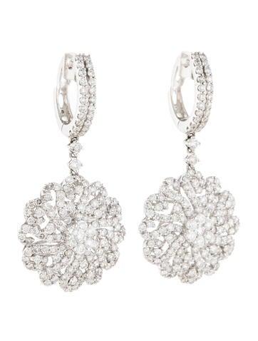 3.54ctw Diamond Flower Drop Earrings
