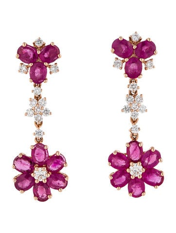 8.10ctw Pink Sapphire and Diamond Earrings