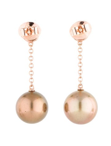 Bronze Pearl and Diamond Earrings