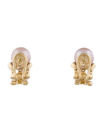Pearl & Diamond Bow Earrings