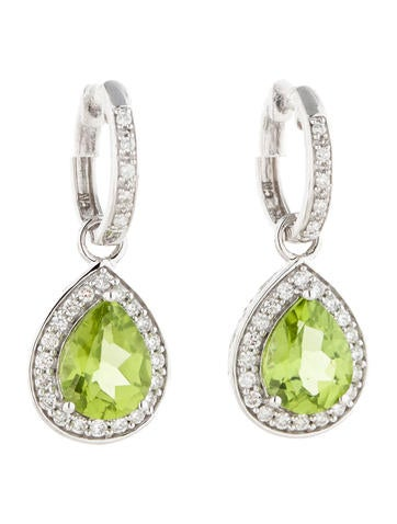 Rina Limor 3.33ctw Peridot and Diamond Earrings w/ Tags