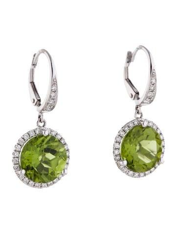 Rina Limor 8.67ctw Peridot and Diamond Dangling Earrings w/ Tags