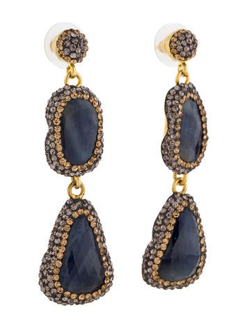 Sapphire and Crystal Drop Earrings