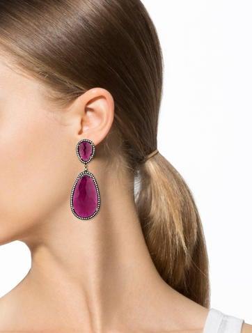 71.40ctw Ruby Slice Diamond Drop Earrings w/ Tags