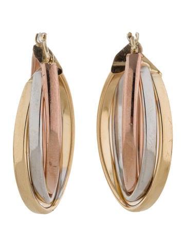 Tri-Color Oval Hoop Earrings