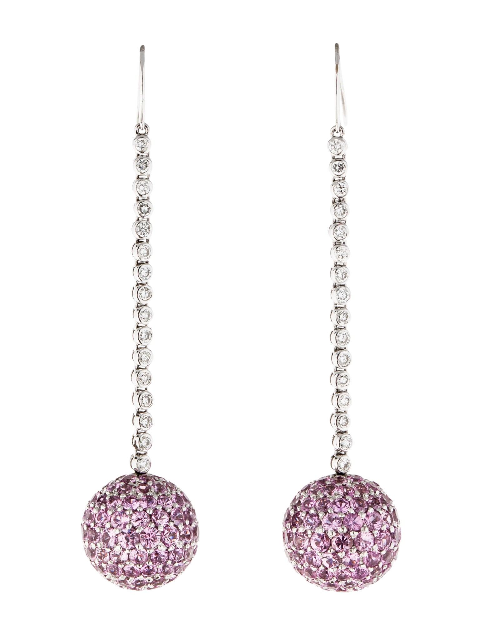 pink sapphire and diamond drop earrings earrings
