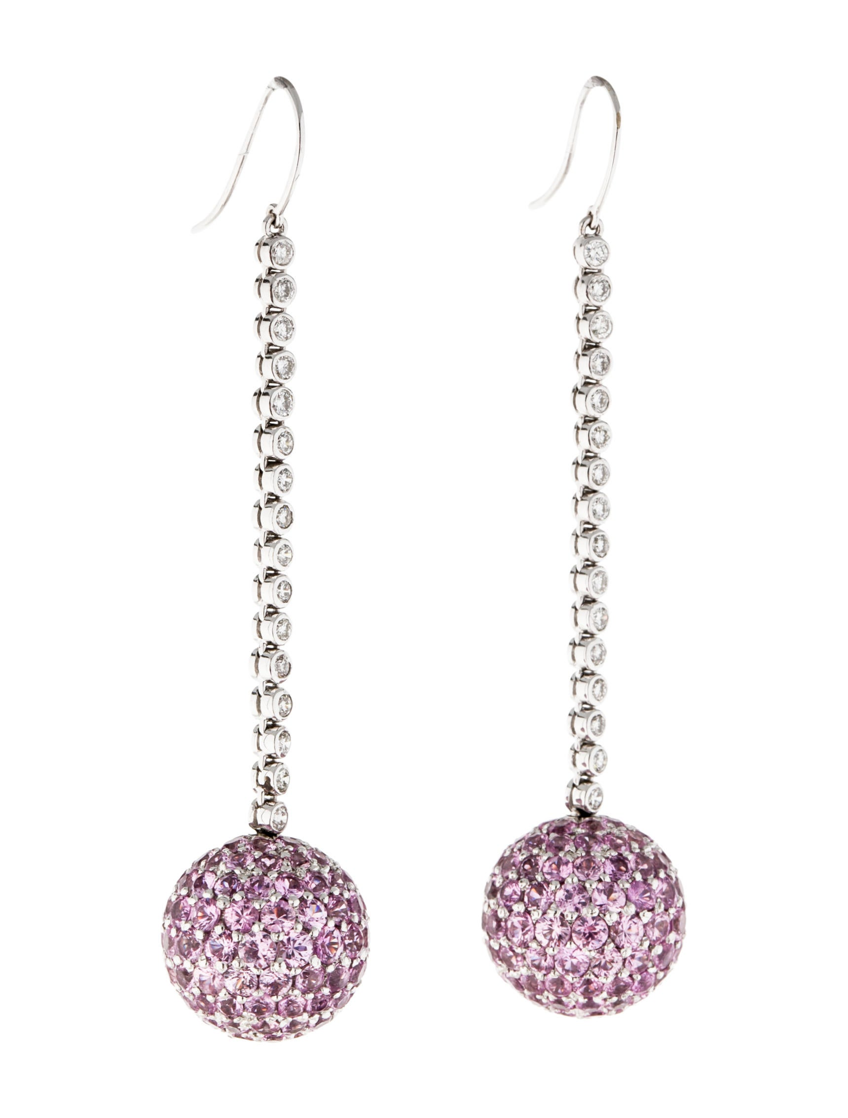 pink sapphire and diamond drop earrings earrings