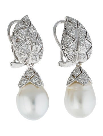 Pearl and Diamond Earrings w/ Tags