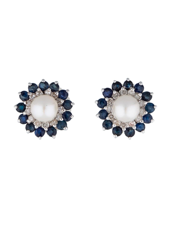 14k Pearl, Sapphire And Diamond Stud Earrings