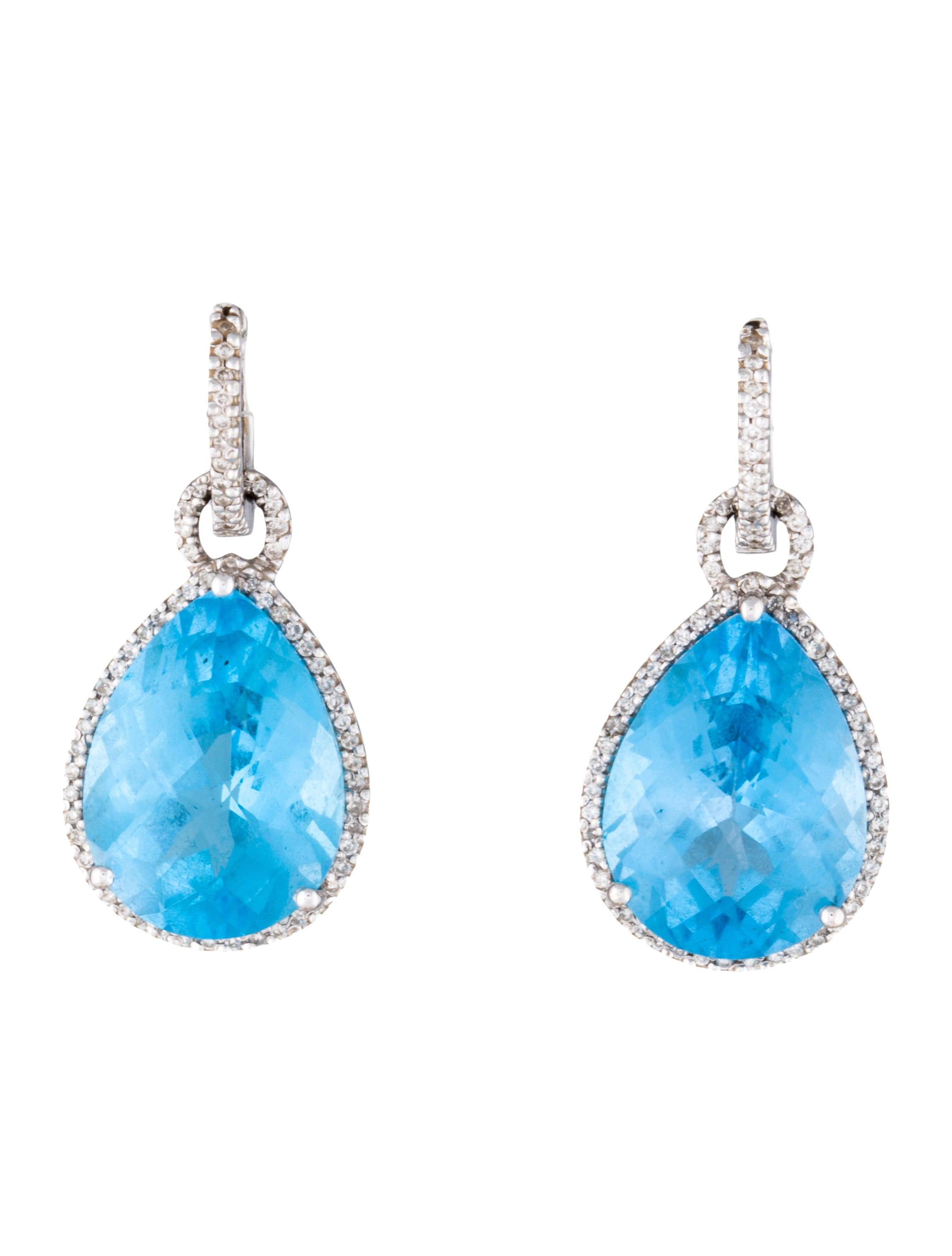 diamond halo blue topaz earrings earrings fje24530. Black Bedroom Furniture Sets. Home Design Ideas