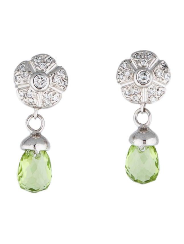 Peridot and Diamond Drop Earrings - 31.2KB