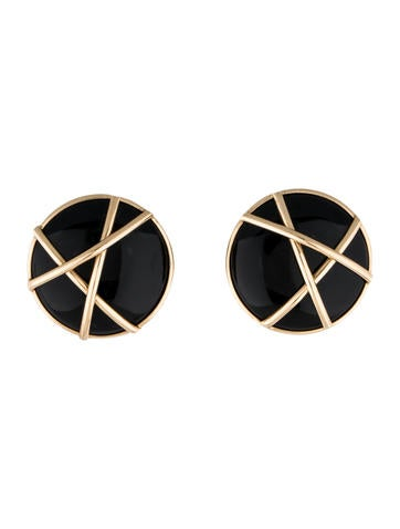 14K Gold and Onyx Stud Earrings