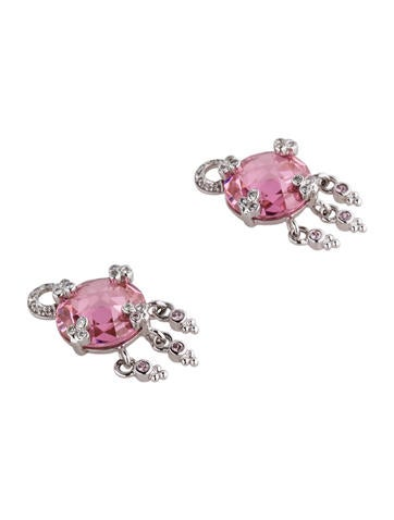 Pink Quartz and Diamond Earring Enhancers