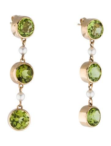 14K Peridot and Pearl Drop Earrings