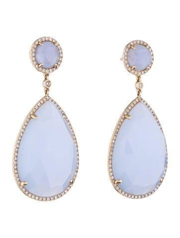 Chalcedony and Diamond Earrings