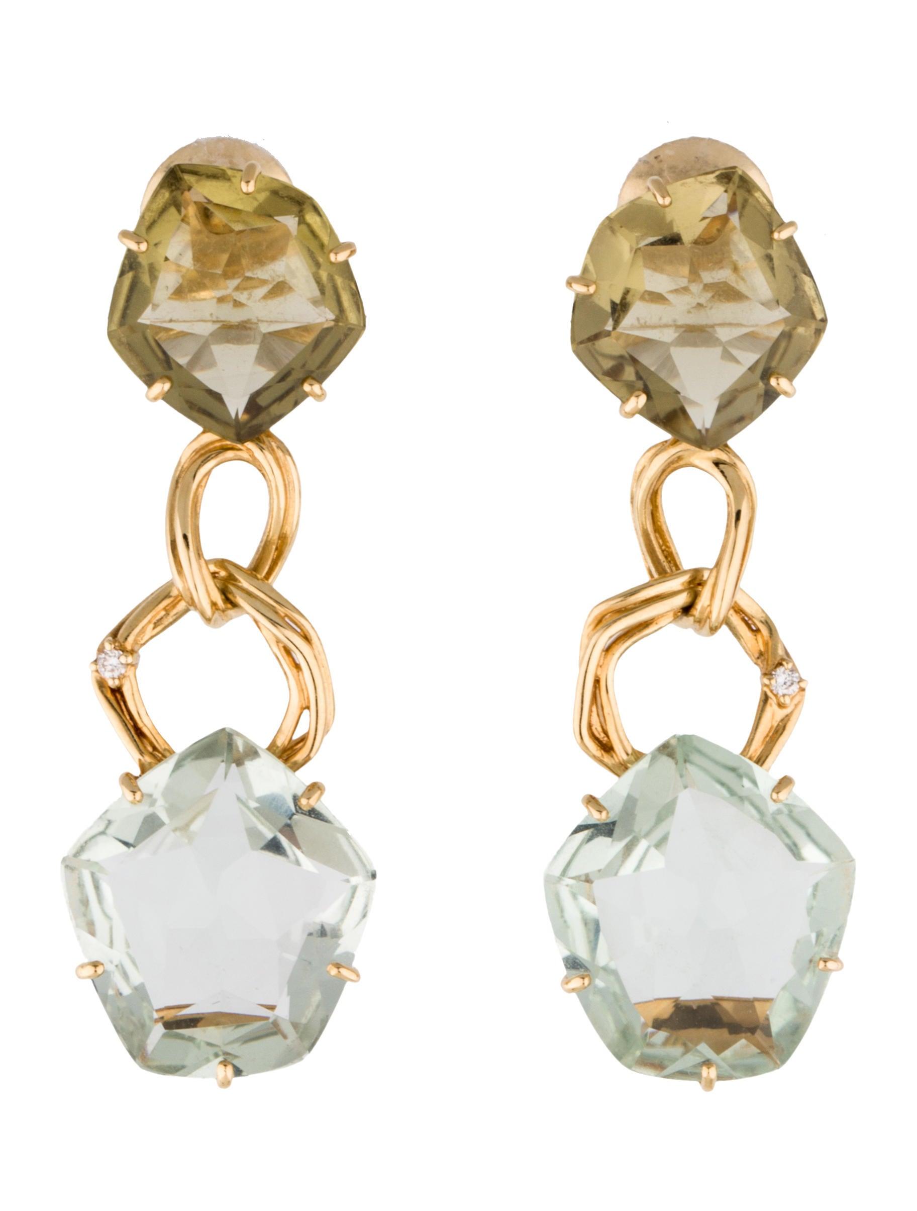 prasiolite drop earrings earrings fje26702 the realreal
