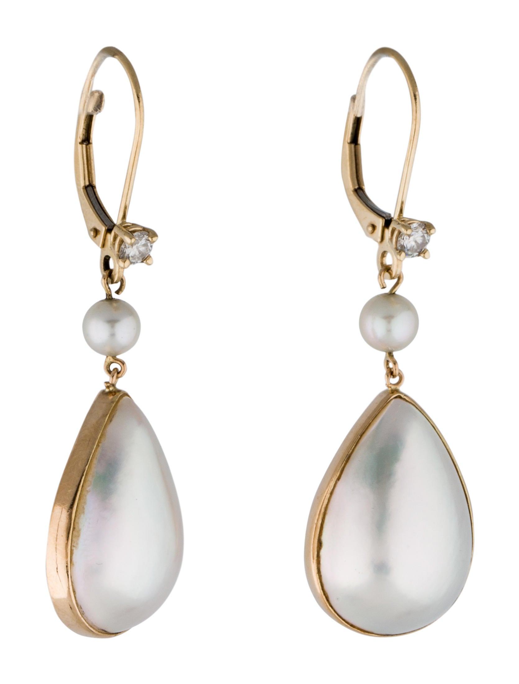 14k diamond and pearl drop earrings earrings fje26904. Black Bedroom Furniture Sets. Home Design Ideas
