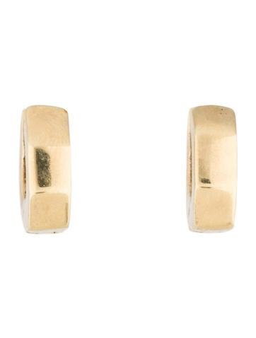 14K Geometric Huggie Earrings