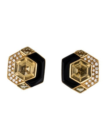 18K Quartz, Onyx and Diamond Clip-On Earrings