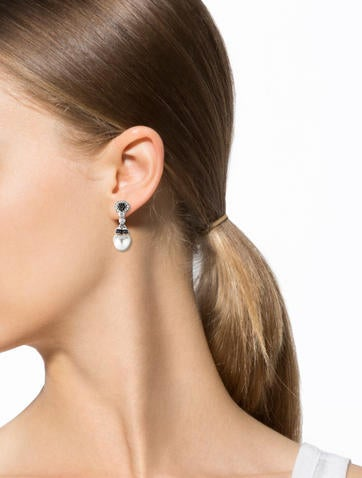 18K Black and White Diamond and Pearl Drop Earrings