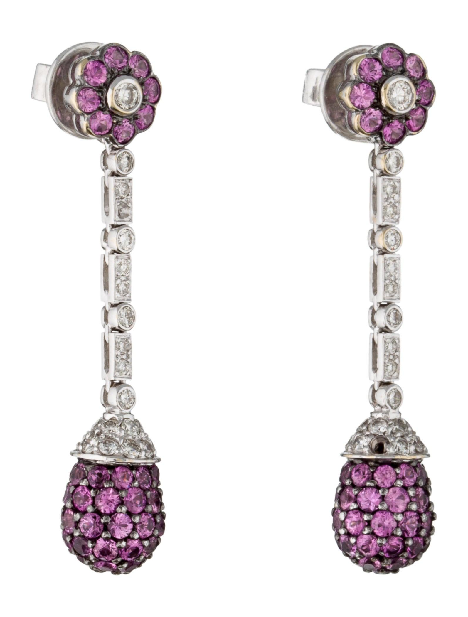 Pink Sapphire & Diamond Earrings - Earrings - FJE28245 ...