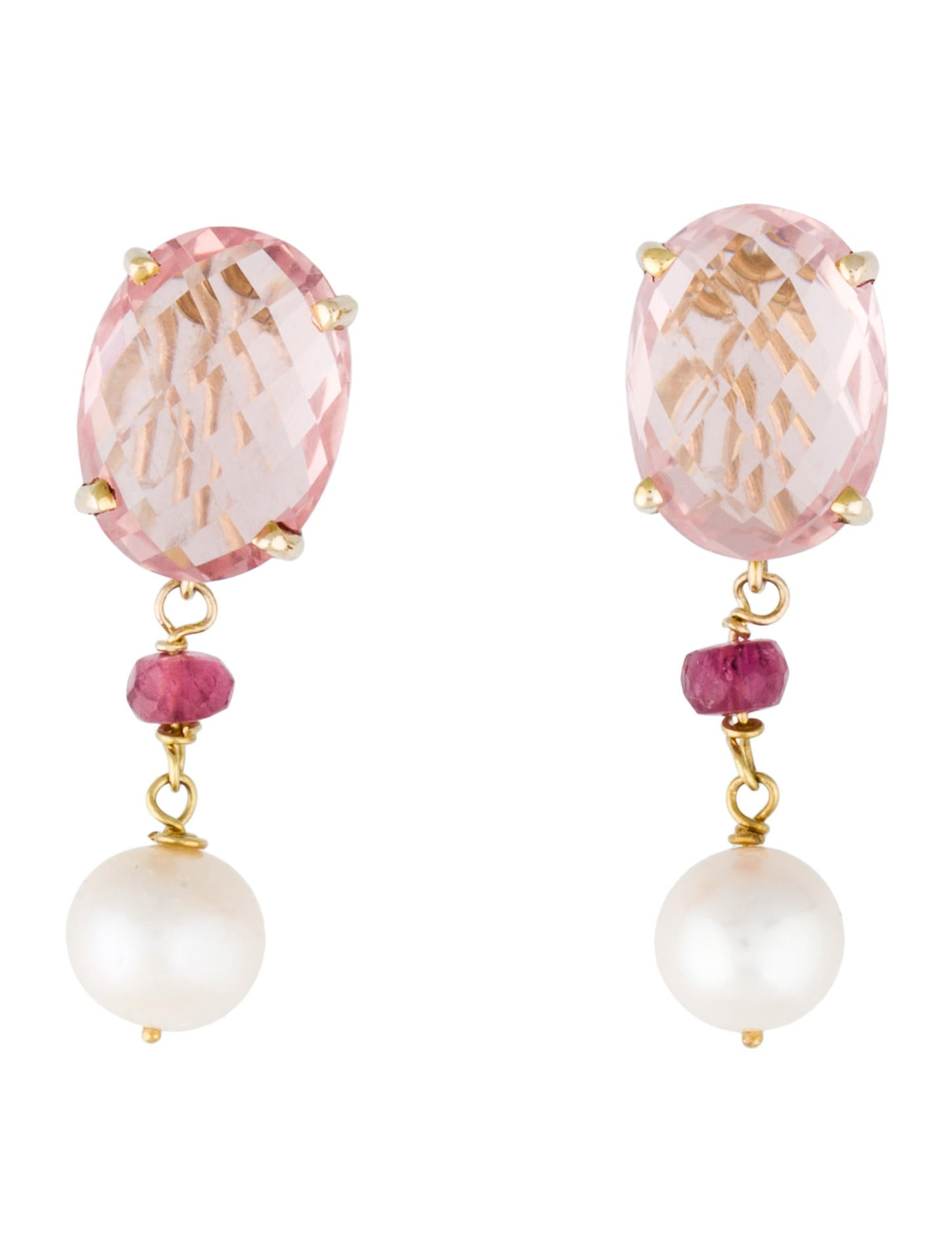 14k Rose Quartz Tourmaline And Pearl Drop Earrings