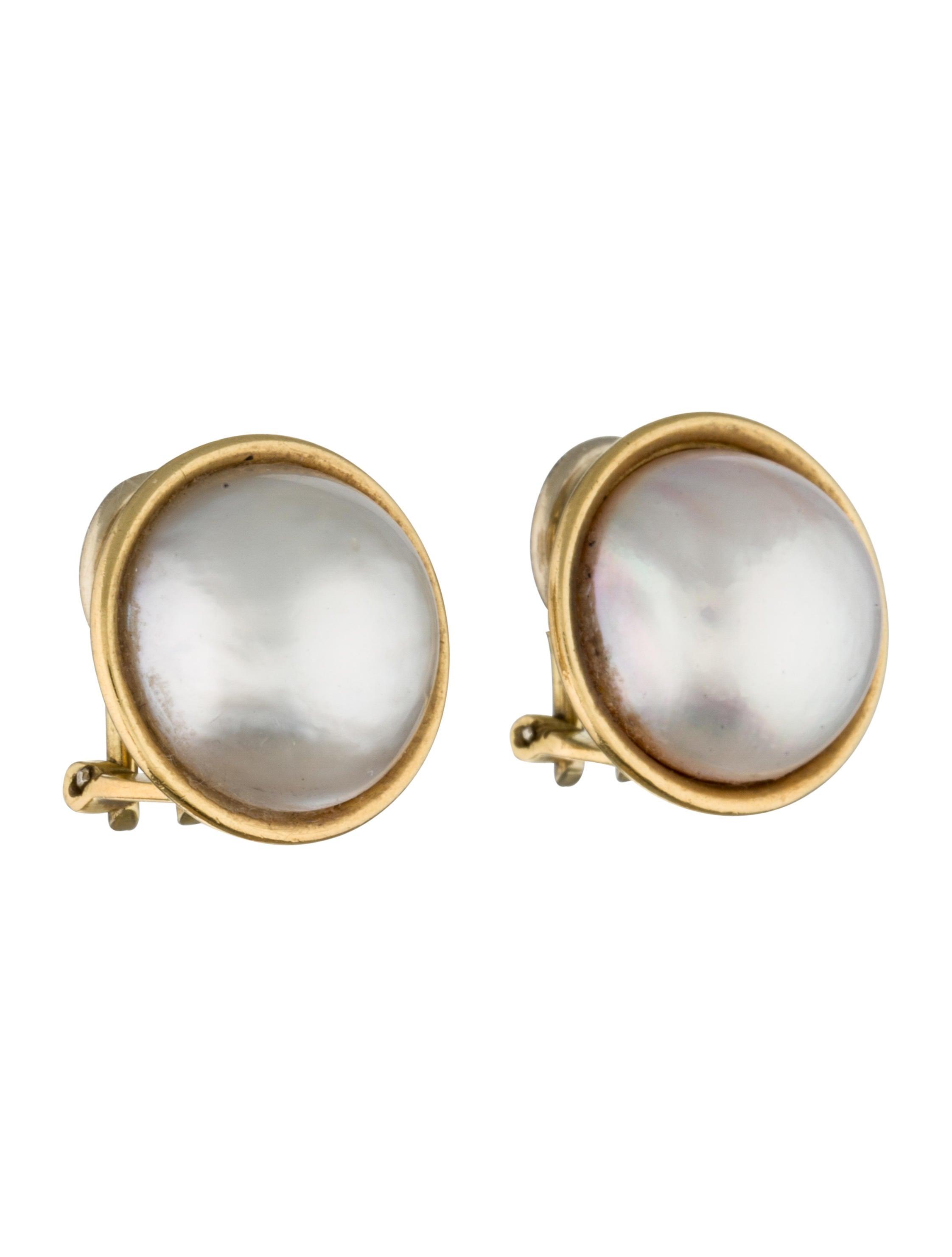 18k mabe pearl clip on earrings earrings fje28501. Black Bedroom Furniture Sets. Home Design Ideas
