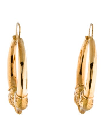 18K Lion Hoop Earrings