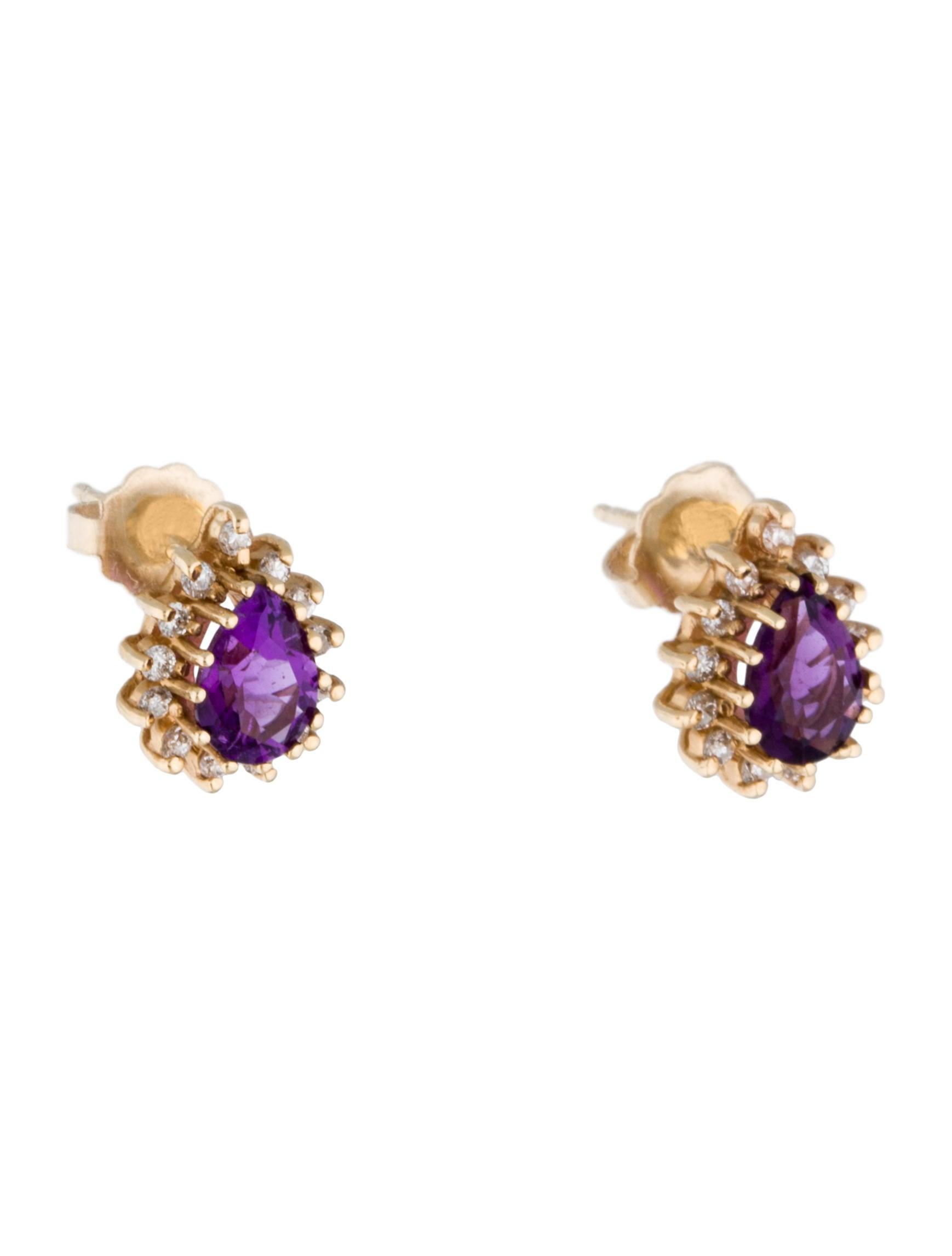 14k amethyst amp diamond stud earrings earrings fje30338